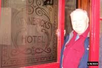Bill Diederich at the door to Kennefick's Hotel, now Cronin's Pub